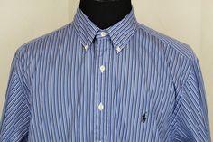 RALPH LAUREN Classic Fit Men's LS Button Front Oxford Shirt Sz 18 Blue Striped #RalphLauren