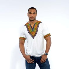 This bold and stunning African dashiki print black t-shirt is a must have for any guy's collection. Shop for all of your African attire today right here! African Shirts, African Print Dresses, African Fashion Dresses, African Dress, Dashiki For Men, African Dashiki, African Inspired Fashion, African Print Fashion, Native Fashion
