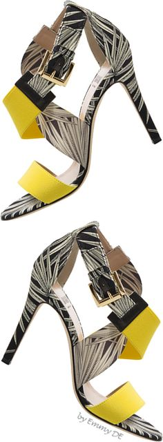MSGM ~ Ferns Black + White Printed Sandals w Yellow Strap Buckle Detail  2015