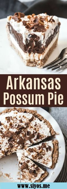Arkansas Possum Pie is a creamy, layered chocolate and cream cheese pie in a pecan shortbread crust that is sure to please! Arkansas Possum Pie is a creamy, layered chocolate and cream cheese pie in a pecan shortbread crust that is sure to please! Pecan Desserts, Slow Cooker Desserts, No Bake Desserts, Easy Desserts, Southern Desserts, Pecan Pies, Easy Delicious Desserts, Simple Dessert Recipes, Dessert Healthy