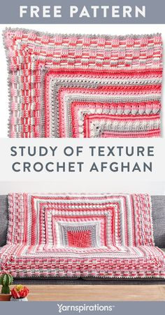 Free Study of Texture Afghan crochet pattern using Bernat Pop! yarn. This free crochet pattern designed by The Crochet Crowd puts all your crochet skills to the test! With plenty of textured stitches worked in separate pieces using self-striping Bernat Pop! yarn this afghan is a great crochet pattern for practicing and perfecting your crochet skills. #Yarnspirations #FreeCrochetPattern #CrochetAfghan #CrochetThrow #CrochetBlanket #BernatYarn #BernatPop Crochet Gratis, Crochet Yarn, Free Crochet, Irish Crochet, Bernat Pop Yarn, Afghan Crochet Patterns, Crochet Afghans, Crochet Crowd, Afghan Patterns