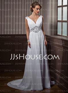 Wedding Dresses - $114.09 - A-Line/Princess V-neck Chapel Train Chiffon  Charmeuse Wedding Dresses With Ruffle  Beadwork (002011388) http://jjshouse.com/A-Line-Princess-V-Neck-Chapel-Train-Chiffon-Charmeuse-Wedding-Dresses-With-Ruffle-Beadwork-002011388-g11388