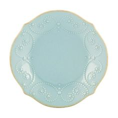 "Lenox French Perle Ice Blue Tidbit Plate(s) by Lenox - Stoneware - Microwave & Dishwasher Safe. $9.95. Dimensions: 6"" Dia. Brand New - First Quality. Tidbit Plate(s) - With Fanciful Beading And A Feminine Edge, French Perle Dinnerware From Lenox Has An Irresistibly Old-Fashioned Sensibility. Hardwearing Stoneware Is Dishwasher Safe And, In An Ethereal Ice-Blue Hue W - Made In China"