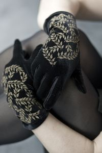 Polonova Velvet Gloves with Vines - Comfy little luxuries for your hands.  Soft, stretchy velvet gloves w/ vines screen-printed by hand to fabulous perfection.  These really finish a perfect outfit & add a bit of extravagance to simple attire.  Hand made by Deborah Polonoff in Portland, Oregon.