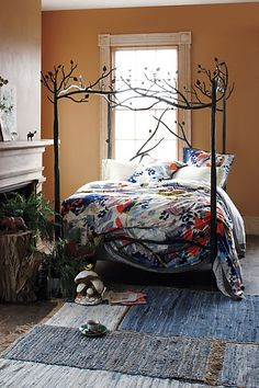 """Someday, when money is no object, I will have this bed in my daughter's """"Sleeping Beauty's woodland cottage"""" bedroom. :)"""