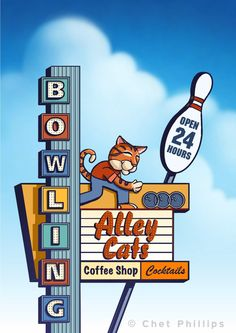Bowling Alley Cats Googie Sign by ChetArt on Etsy Old Neon Signs, Vintage Neon Signs, Old Signs, John Lautner, Alley Cat, Googie, Sign Design, Lettering Design, Vintage Advertisements