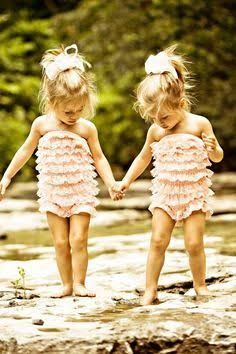 cute toddler twins both girls and blonde hair walking with head down - Google Search