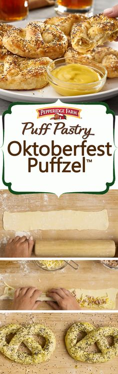 Pepperidge Farm Puff Pastry Oktoberfest Puffzel™ Recipe. Inspired by cheesy stuffed pretzels (and of course, Oktoberfest) these unique Puff Pastry Puffzels make for a perfect fall snack. Simply fill strips of Puff Pastry with cheese and smoked sausage, seal with an egg and mustard wash, twist and bake until golden. We also sprinkled ours with a savory seed mixture before baking. Serve as appetizers while rooting for fall football or enjoy with a cold brew and good friends. Prost!