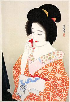 A Dressing Beauty  by Ito Shinsui, 1935  (published by Katsumura)