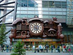 "Miyazaki's giant ""Anime"" Nittere Ohdokei Automaton Clock at the NTV Broadcasting Center in Shiodome Tokyo Japan"