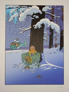 Francq, Philippe - Zeefdruk - Largo Winch - In het bos met helicopter - W.B.