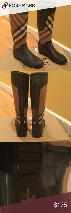 Burberry rain boots Brand new in box Burberry rain boots. Too tight in the calf for me.  They have the white latex film on them.  They are super cute. Burberry Shoes Winter & Rain Boots