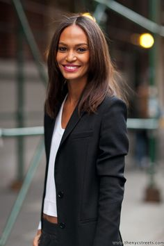 Joan #Smalls- black and white, topped off with berry lips and glowy skin. #suit