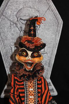 Primitive Halloween Skeleton Doll  by Carly Smith