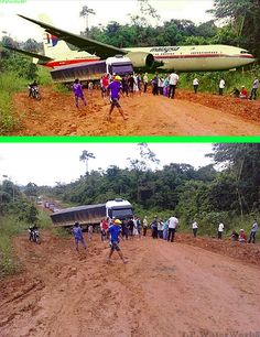 Fake - Another false Malaysia Flight MH370 image showing the jet in a forest. - The original image on the bottom shows the difficult driving conditions on the Pan-American Highway in Brasil.