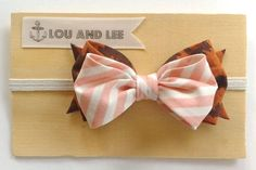 Baby bow headband  with leopard and candy stripe pink by louandlee, $16.00
