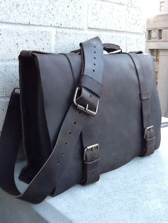 15 inch Leather lap top messenger bag handstitched by Aixa. $339.00, via Etsy.