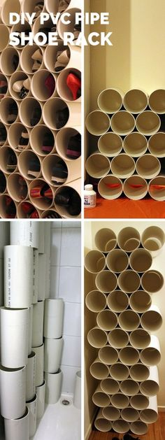 Check out the tutorial: #DIY PVC Pipe Shoe Rack #crafts #homedecor
