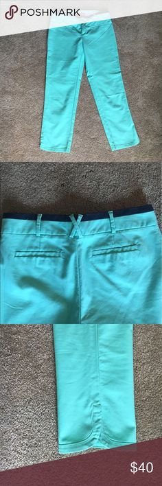 Anthropologie Cartonnier capris Just in time for spring! Mint green with a navy blue accent at the waist and a slit on the bottom of the pant leg. Never worn. Anthropologie Pants Capris