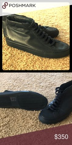 Men's size 39 Common Projects Navy hightops Navy hightopsworn for a weekend on vacation. Not sure what American size is for a 39 mens is. Common Projects Shoes Sneakers