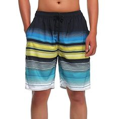 Mens Boys Short Blue Linear Nautical Animals Swim Trunks with Mesh Lining Quick Dry Swim Suits Board Shorts