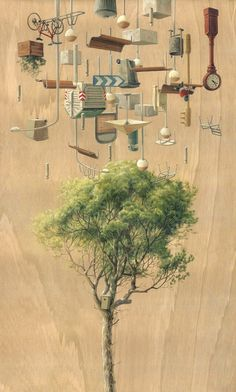 """""""Gravitant"""" is a fantastic series of gravity-defying scenes by Spanish artist Cinta Vidal Agulló. """"With this work, the artist wants to show that we live… Father Photo, Spanish Artists, Still Life Art, Everyday Objects, Natural World, Painting On Wood, Illustration Art, Magazine Illustration, Cool Photos"""