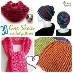 30 Gorgeous Free One-Skein #crochet patterns | CrochetStreet.com You will absolutely adore these diy crochet design patterns from a gorgeous hat, to a lovely scarf.