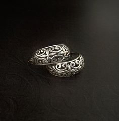 Vintage FILIGREE Sterling Silver EARRINGS Hoops BYZANTINE Scroll Repousse Design 7.1 Grams