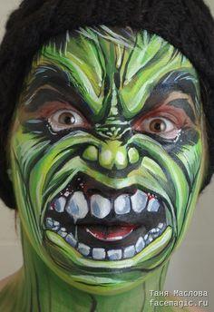 Hulk. Face paint by Tanya Maslova.