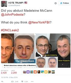 Clinton Campaign Manager John Podesta and Brother Tony Behind World Famous Kidnapping of MADALINE McCANN?  The sketches of kidnapping suspects