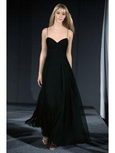 Chiffon Spaghetti Straps Draped Bodice Floor-Length Bridesmaid Dress