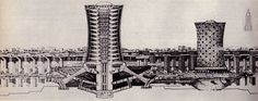 BabelNoah - a self-contained city concept. Paolo Soleri. Arcology: City in the Image of Man. 1970.