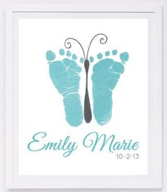 Baby footprint art, forever prints by hand and footprint Keepsake for kids or babies. Mother's Day, New Mother, Nursery Art Baby In loving memory - Baby & Kleinkind - unique crafts Crafts To Do, Crafts For Kids, Crafts With Baby, Baby Footprint Art, Diy Bebe, Baby Footprints, Butterfly Footprints, Handprint Art, Baby Art