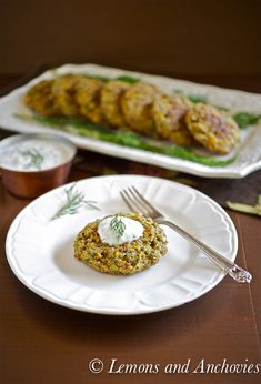 Quinoa Cakes with Yogurt-Dill Dip recipe by @Jean | Lemons and Anchovies