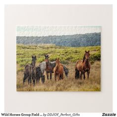 Wild Horses Group Field And Mountain Scenery View Jigsaw Puzzle Make Your Own Puzzle, Green Fields, Custom Gift Boxes, Green Trees, Sticker Shop, Wild Horses, High Quality Images, Pink And Green, Jigsaw Puzzles