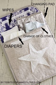 Baby stash bag - tutorial for a baby clutch/pouch that fits a change pad, spare nappies/diapers, wipes and a change of clothes - but still a reasonable size. Much more sensible than squeezing it all in a small nappy pouch or leaving nice clothes loose in a big bag.