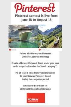Create your Norway Pinterest board and enter to win prizes