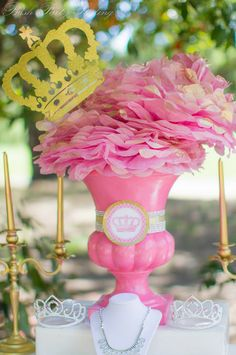 Love the center pieces!! But instead of the crown put a cross and add butterflies to  go with the vintage garden theme!