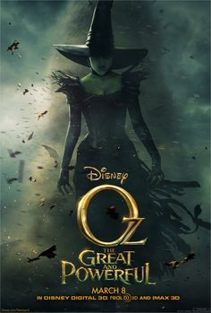 Oz The Great and Powerful , starring James Franco, Michelle Williams, Rachel Weisz, Mila Kunis. A small-time magician is swept away to an enchanted land and is forced into a power struggle between three witches. Walt Disney, Disney Magic, Rachel Weisz, Oz Movie, Movie Film, Little Dorrit, Wicked Witch, New Poster, About Time Movie
