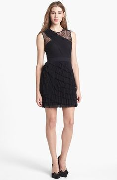 BCBGMAXAZRIA Tiered Ruffle Mesh Dress available at #Nordstrom