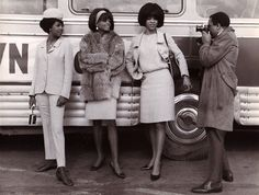 Glamourous - Mary Wilson, Diana Ross, and Florence Ballard pose for Gordy at Le Bourget airport, outside Paris, 1965