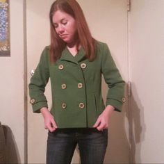 CAbi Green Wool Pea Coat 100% wool coat, double-breasted, three-quarter length sleeves, camel buttons, two full pockets. Camel colored lining, extremely warm and comfy. Worn a few times, with love. Perfect condition with no wear or tear. Comes from a smoke and pet free home. Make an offer! Will negotiate and bundle. CAbi Jackets & Coats Pea Coats