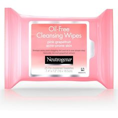 Oil-Free Cleansing Wipes Pink Grapefruit | Neutrogena® ($7.99) ❤ liked on Polyvore featuring beauty products, skincare and face care