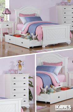 Planning a special room for your little one? The Brooke collection is adorably cottage chic, with a bed, end table, chests and dresser. Use the trundle as storage or extra sleep space for overnight guests! Available in both White and Black, this set is gender neutral, but can be accessorized perfectly for girls as well as boys. The numerous drawers will make keeping their room clean a cinch for any child!
