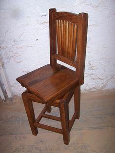 reclaimed antique oak swivel bar stool