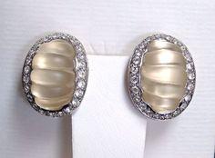 Vintage by Replica of Italy Satin Glass Swirls and Rhinestone Rhodium Earrings #ReplicaMadeinItaly #ArtGlassandRhinestoneEarringsbyReplica