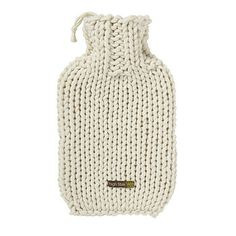 Hand Knitted Hot Water Bottle Cover. Leave a long tail to tie the stopper on to the cover.