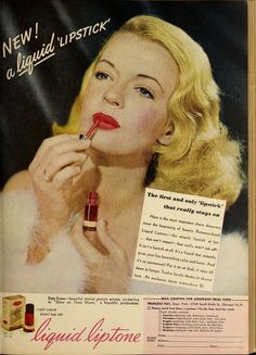 It's Not That Great An Idea To Put On Liquid Lipstick While (A . Makeup Recipes makeup by alo chile recipes Vintage Makeup Ads, Retro Makeup, Old Makeup, Vintage Beauty, Vintage Ads, 1940s Makeup, Beauty Ad, Beauty Makeup, Vintage Cigarette Ads