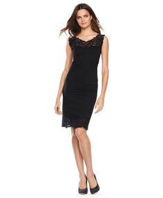 INC International Concepts Petite Dress, Sleeveless Lace-Trim Sheath - Womens Dresses - Macy's