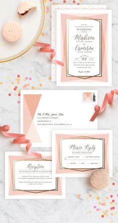 Design forward brides will love Modern Angles, Minted artist Karidy Walker's geometric inspired wedding design available exclusively on Minted.com